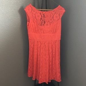 Dress Barn cherry coral lace dress